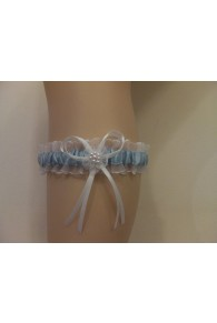 White & Blue Satin Garter