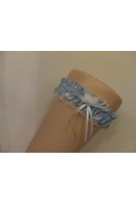 Blue & White Satin Garter